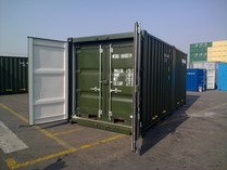 8' & 10' GREEN RAL 6007 shipping containers